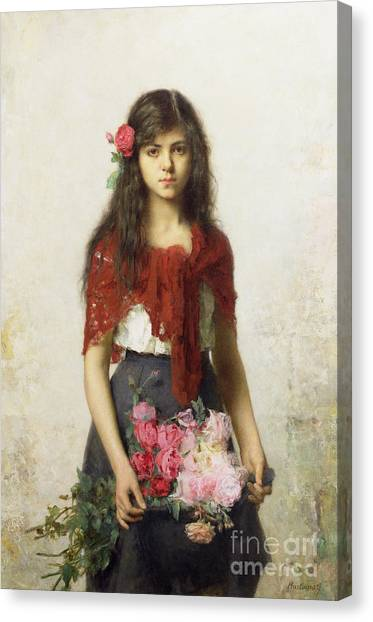 Red Roses Canvas Print - Young Girl With Blossoms by Alexei Alexevich Harlamoff