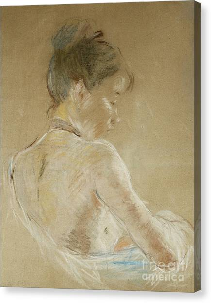 Bare Shoulder Canvas Print - Young Girl With Naked Shoulders by Berthe Morisot