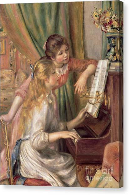 Pierre-auguste Renoir Canvas Print - Young Girls At The Piano by Pierre Auguste Renoir
