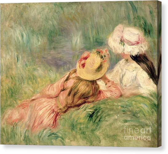 Pierre-auguste Renoir Canvas Print - Young Girls On The River Bank by Pierre Auguste Renoir