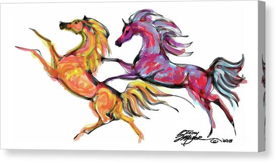 Young Horses Playing Canvas Print