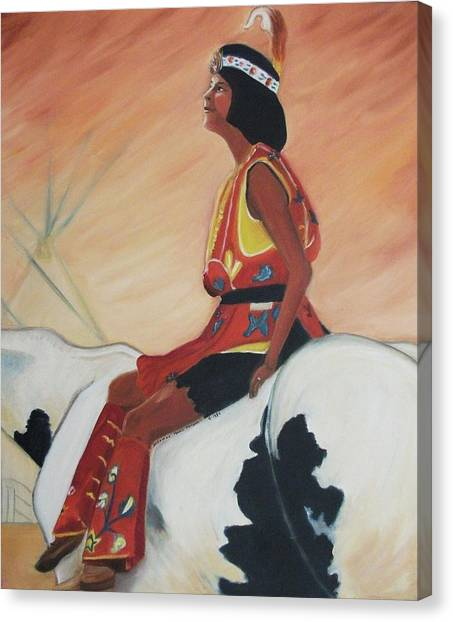 Young Indian Native Canvas Print by Suzanne  Marie Leclair
