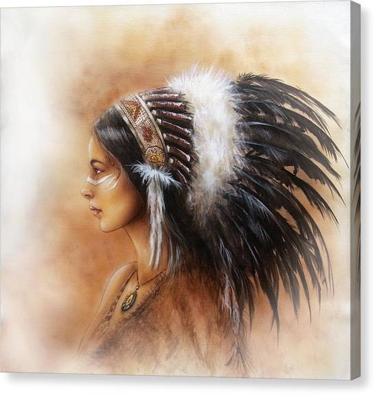 Sikh Art Canvas Print - Young Indian Woman Wearing A Big Feather Headdress A Profile Portrait On Structured by Jozef Klopacka