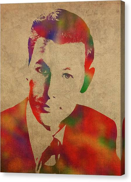 Johnny Carson Canvas Print - Young Johnny Carson Watercolor Portrait by Design Turnpike