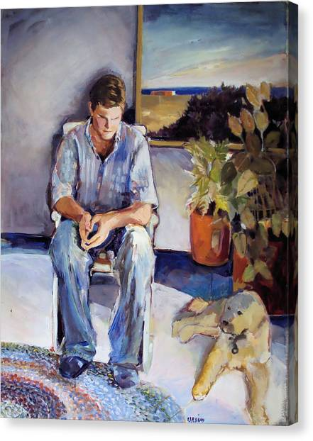 Young Man And His Dog Canvas Print