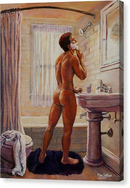 Young Man Shaving Canvas Print