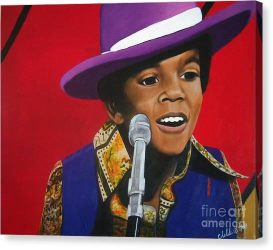 Young Michael Jackson Singing Canvas Print