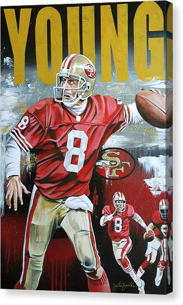 Jerry Rice Canvas Print - Young On The Run by Joshua Jacobs