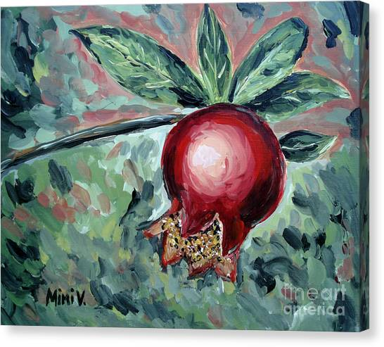 Canvas Print featuring the painting Young Pomegranate by Maria Langgle