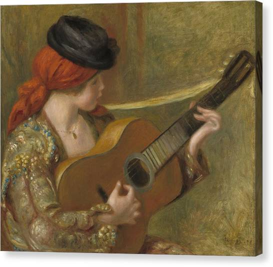 Classical Guitars Canvas Print - Young Spanish Woman With A Guitar by Auguste Renoir