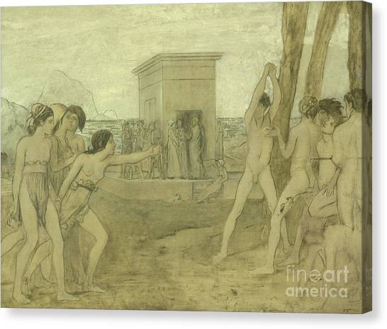 Edgar Degas Canvas Print - Young Spartan Girls Challenging Boys by Edgar Degas