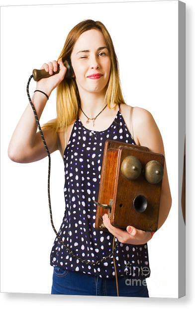 Canvas Print featuring the photograph Young Telephonist Phoning Using Old Vintage Phone by Jorgo Photography - Wall Art Gallery