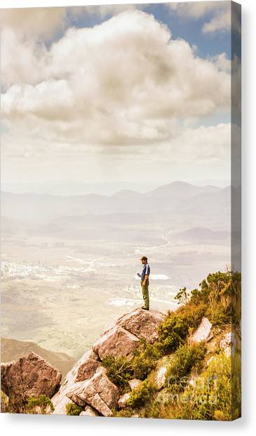 Ledge Canvas Print - Young Traveler Looking At Mountain Landscape by Jorgo Photography - Wall Art Gallery