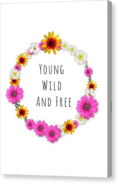 Wreath Canvas Print - Young, Wild, And Free by Annie Walczyk