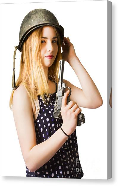 Hard Hat Canvas Print - Young Woman In Helmet Holding Old Vintage Gun by Jorgo Photography - Wall Art Gallery