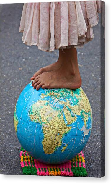 Ankles Canvas Print - Young Woman Standing On Globe by Garry Gay