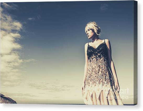 Young Adults Canvas Print - Young Woman Standing On The Beach by Jorgo Photography - Wall Art Gallery