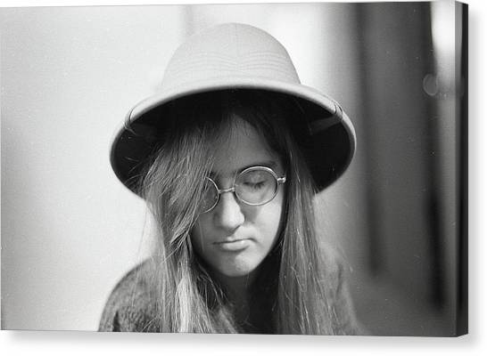 Young Woman With Long Hair, Wearing A Pith Helmet, 1972 Canvas Print