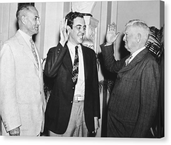 Democratic Politicians Canvas Print - Youngest Salon Takes Oath by Underwood Archives