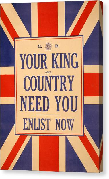 Wwi Canvas Print - Your King And Country Need You by English School