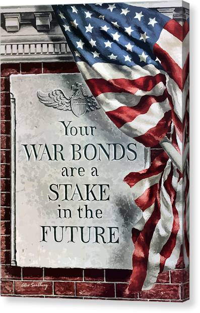 American Flag Canvas Print - Your War Bonds Are A Stake In The Future by War Is Hell Store