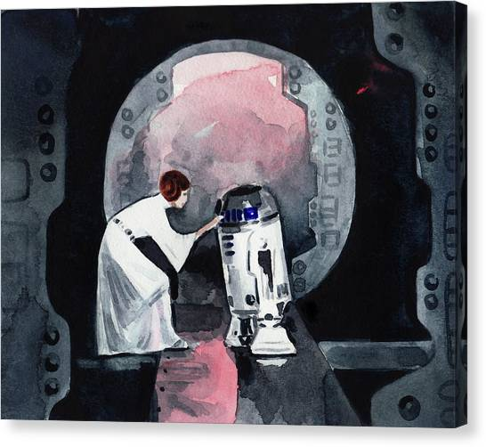 Leia Organa Canvas Print - You're My Only Hope Princess Leia And R2d2 by Laura Row