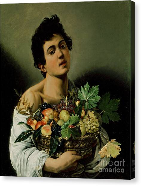 Baroque Art Canvas Print - Youth With A Basket Of Fruit by Michelangelo Merisi da Caravaggio