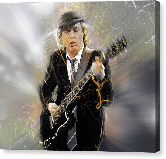 Ac Dc Canvas Print - You've Been Thunderstruck by Mal Bray