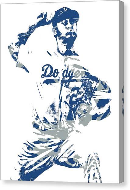 Los Angeles Dodgers Canvas Print - Yu Darvish Los Angeles Dodgers Pixel Art 5 by Joe Hamilton