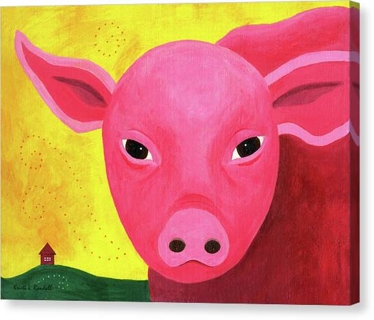 Yuling The Happy Pig Canvas Print by Kristi L Randall