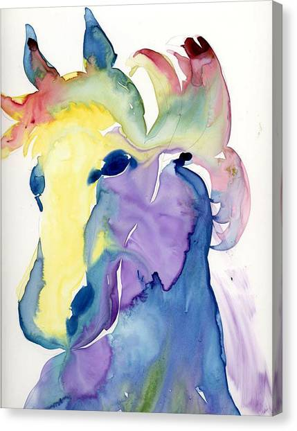 Yupo Horse Canvas Print by Janet Doggett