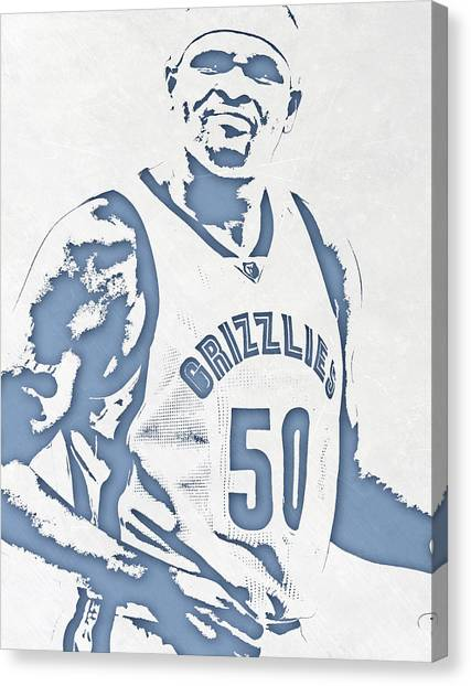 Memphis Grizzlies Canvas Print - Zach Randolph Memphis Grizzlies Pixel Art by Joe Hamilton