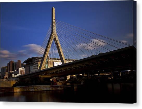 Interstates Canvas Print - Zakim Bridge And Boston Garden At Sunset by Rick Berk
