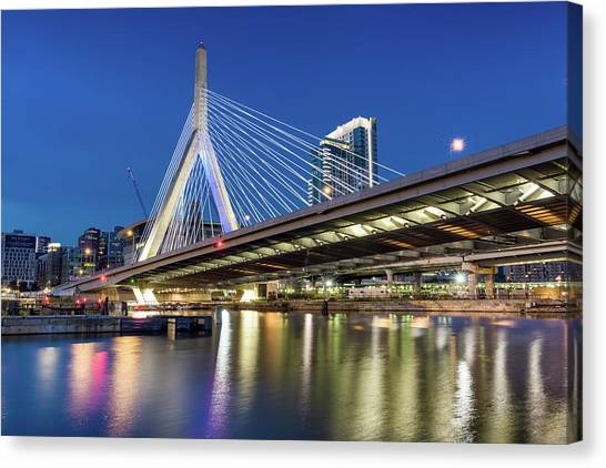 Zakim Bridge And Charles River Canvas Print