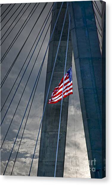 American Steel Canvas Print - Zakim Bridge Boston by Elena Elisseeva
