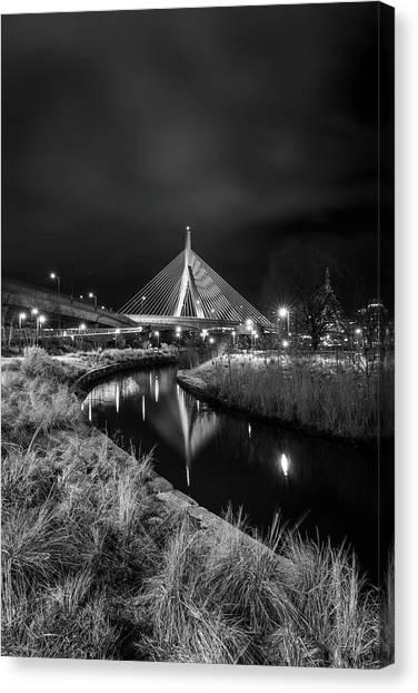 Zakim Bridge Reflecting Under A Moody Sky Canvas Print