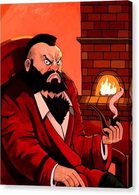 Street Fighter Canvas Print - Zangief By The Fireplace by Johnikatt