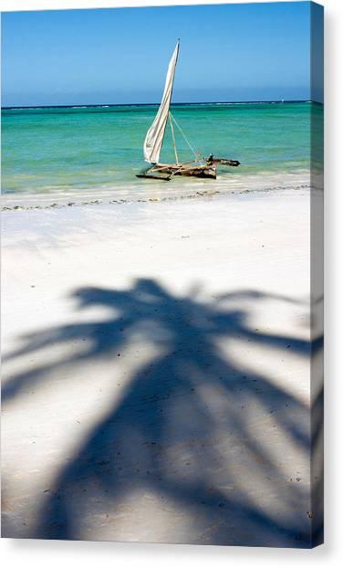 Dhow Canvas Print - Zanzibar Beach by Adam Romanowicz