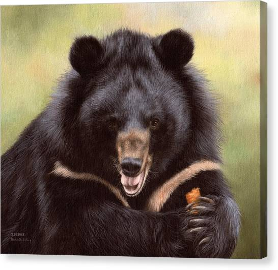 Black Bears Canvas Print - Zebedee Moon Bear - In Support Of Animals Asia by Rachel Stribbling