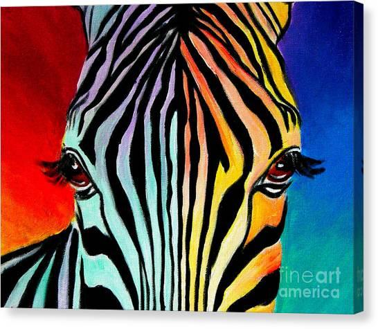 Zebra - End Of The Rainbow Canvas Print