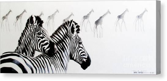 Zebra And Giraffe Canvas Print