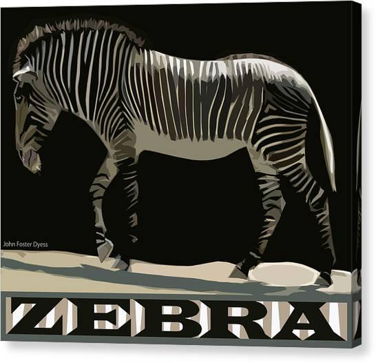 Zebra Design By John Foster Dyess Canvas Print