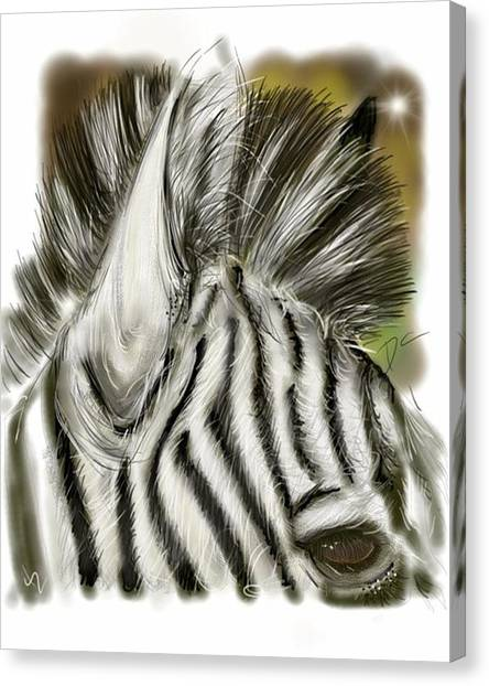 Canvas Print featuring the digital art Zebra Digital by Darren Cannell