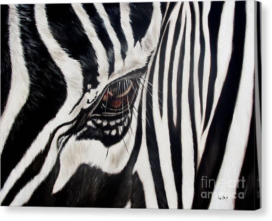Africa Wildlife Canvas Print - Zebra Eye by Ilse Kleyn