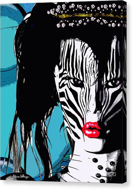 Zebra Girl Pop Art Canvas Print