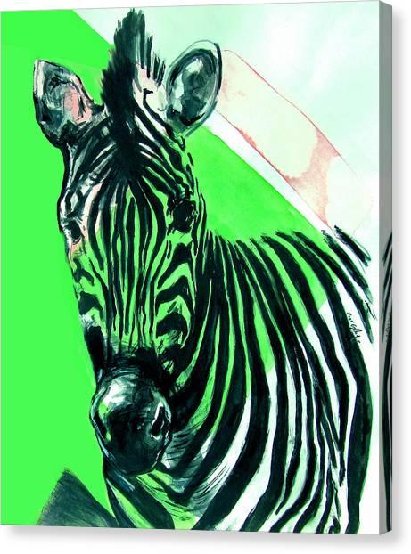 Zebra In Green Canvas Print
