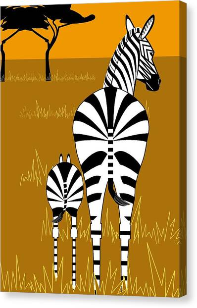 Zebra Mare With Baby Canvas Print