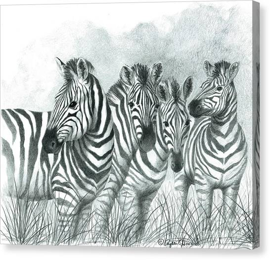 Zebra Quartet Canvas Print