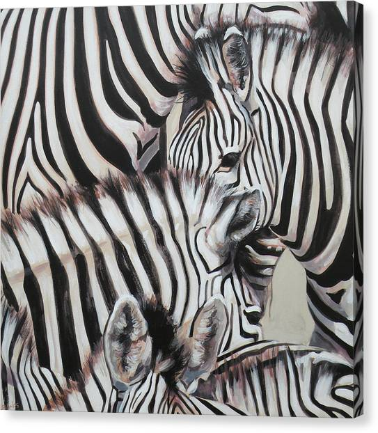 Zebra triptyche left painting by leigh banks zebra triptyche left canvas print by leigh banks altavistaventures Images