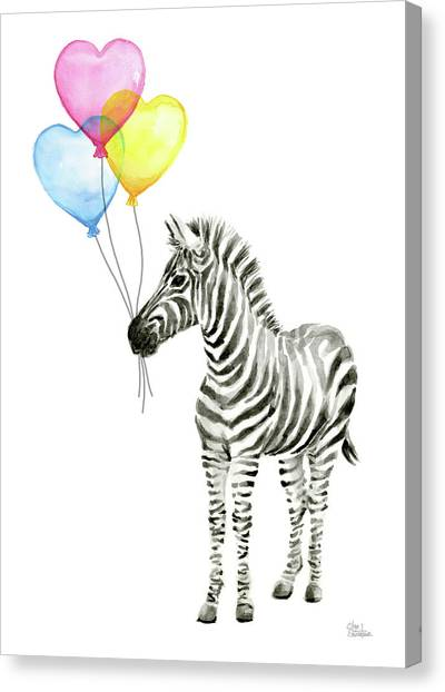 Happy Birthday Canvas Print - Baby Zebra Watercolor Animal With Balloons by Olga Shvartsur